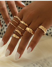Fashion Golden Alloy Concave Ring Set