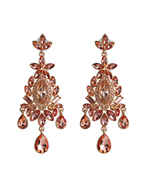 Fashion Pink Geometric Drop Earrings With Diamonds And Flowers