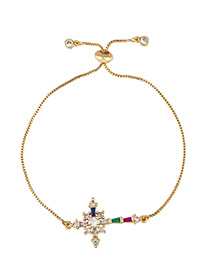 Fashion Color Adjustable Crystal Bracelet With Diamond Cross