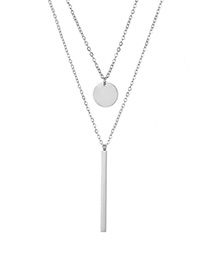 Fashion Steel Color Rectangular Small Round Stainless Steel Double Necklace Lock