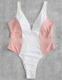 Fashion Pink Stitching Contrast V-neck One-piece Swimsuit
