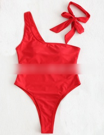 Fashion Red One Shoulder Tie Lace One-piece Swimsuit