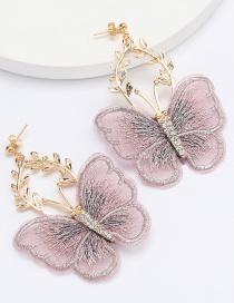 Fashion Purple Alloy Flower Lace Butterfly Earrings