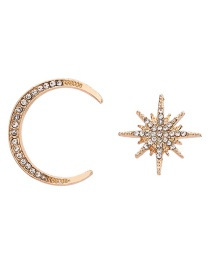 Fashion Golden Star And Moon Asymmetric Earrings With Diamonds