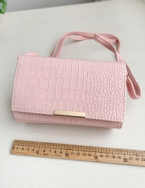 Fashion Pink Pu Stone Pattern Square Shoulder Crossbody Bag