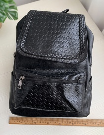 Fashion Black Pu Checked Backpack