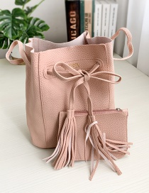Fashion Leather Pink Pu Son And Mother Drawstring Tassel Shoulder Crossbody