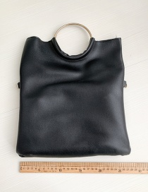 Fashion Black Pu Ring Shoulder Bag
