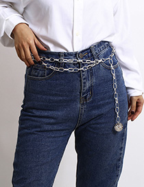 Fashion White K Multi-layer U-shaped Fringed Embossed Disc Waist Chain