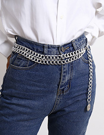 Fashion White K Portrait Embossed Chain Waist Chain