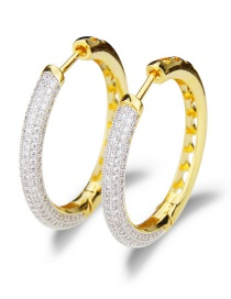 Fashion Gold-plated Electroplated Zirconium Cutout Round Earrings