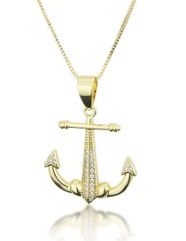 Fashion Gold-plated Anodized Copper Anchor Necklace With Diamonds