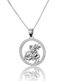 Fashion Platinum-plated Knight Hollow Necklace With Round Dragon Slaying