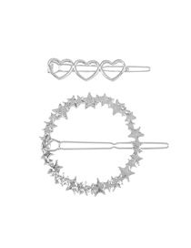 Fashion White K Love Pentagram Hollow Geometric Hair Clip Set