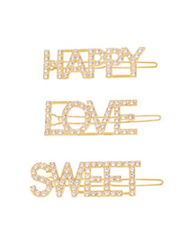 Fashion Gold Color Love+happy+sweet Diamond Letter Alloy Hair Clip Set