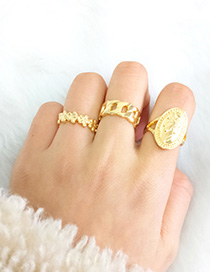 Fashion Golden Embossed Portrait Flower Hollow Geometric Ring Set