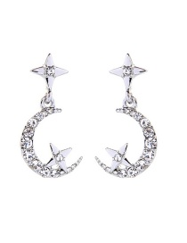 Fashion Silver Diamond Star Moon Stud Earrings
