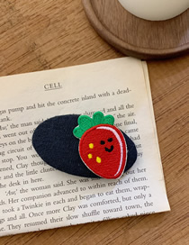 Fashion Black Embroidered Strawberry Contrast Geometric Hair Clip