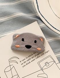 Fashion Gray Little Bear Hit Color Embroidered Hairpin