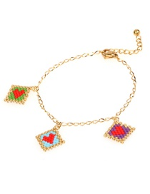 Fashion Color Mizhu Handwoven Heart-shaped Stainless Steel Bracelet