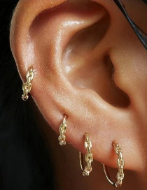 Fashion Golden Copper Chain Hollow Leather Ear Studs Set