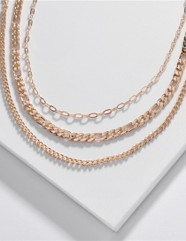 Fashion Golden Flat Chain Geometric Multilayer Necklace