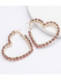 Fashion Red Love Heart Shaped Diamond Earrings