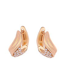 Fashion Golden Alloy Diamond And Feather Geometric Earrings