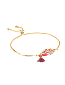 Fashion Red Rice Beads Hand-woven Leaf Fringed Adjustable Bracelet