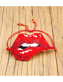 Fashion Red Rice Beads Woven Lips Bracelet