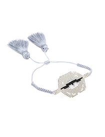 Fashion Gray Hand-knitted Lips Fringed Bracelet