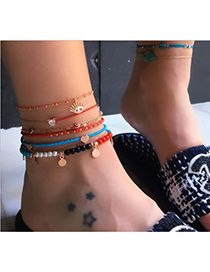 Fashion Red Pearl Anklet Diamond Eyes Love Set