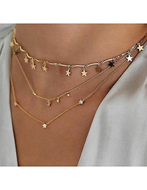 Fashion Golden Five-pointed Star Multilayer Diamond Necklace