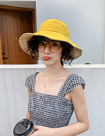 Fashion Yellow Contrasting Color Fisherman Hat With Big Eaves Bow