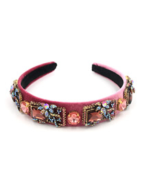 Fashion Red Square Colored Gemstone Hair Hoop