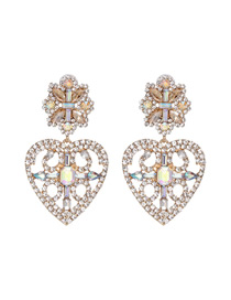 Fashion Champagne Crystal Love Flower Geometric Openwork Earrings With Diamonds