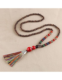 Fashion Red Tassel Imitation Red Turquoise Bead Sweater Chain