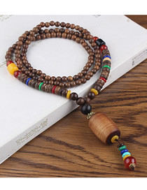 Fashion Brown Plastic Cylindrical Wooden Beads Long Sweater Chain