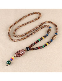 Fashion Brown Old Wooden Beads Long Money Chain