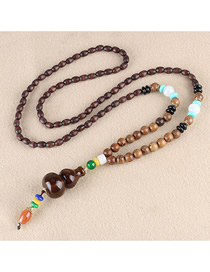 Fashion Brown Distressed Color Gourd Wooden Beads Long Chain