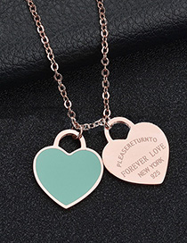 Fashion Green Heart-rose Gold Stainless Steel Double Heart Enamel Letter Necklace