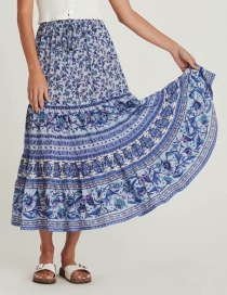 Fashion Blue Floral Print Elastic Waist Skirt