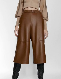 Fashion Brown Faux Leather Panel Pocket Shorts