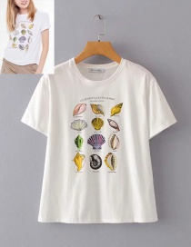 Fashion White Shell Print T-shirt