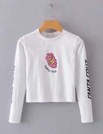 Fashion White Sunflower Print Long Sleeve T-shirt