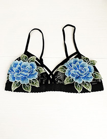 Fashion Black + Blue Lace Embroidered Flower Lingerie