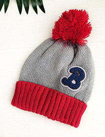 Fashion Grey + Red Children's Hats Knit Stitching Letters