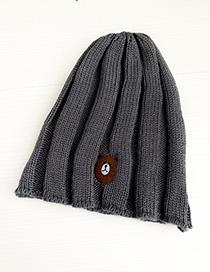 Fashion Gray Knitted Hats Bear