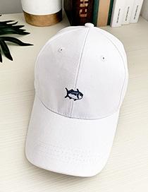 Fashion White Shark Canvas Adult Peaked Cap