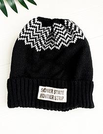 Fashion Black Knitted Corrugated Letter Children Hat
